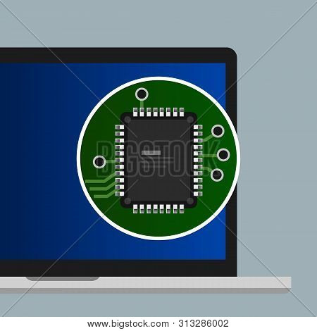 Chip Processor Cpu On Laptop Computer Flat Illustration Concept. Electronic Board Component Hardware