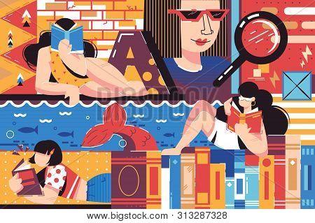 Female bookworm illustration. Gorgeous women reading interesting books. Pretty female plunging into entertaining plot of fantasy world flat style concept poster
