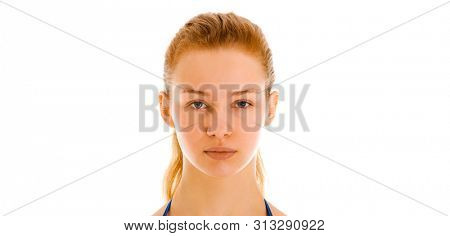 Young woman face without make up. Natural looking caucasian woman on white background.