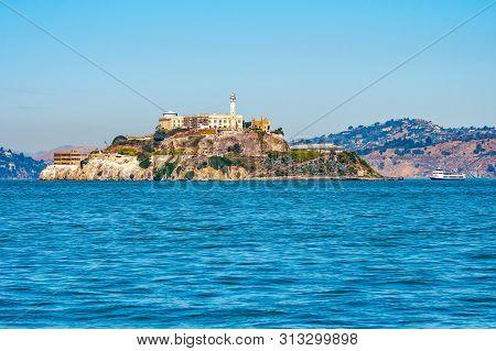 Alcatraz Prison Island In San Francisco Bay, Offshore From San Francisco, California, A Small Island