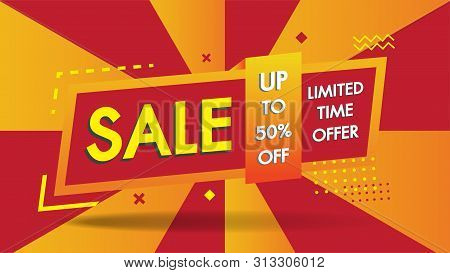 Sale Banner Template Geometric Abstract Shape Design With 50% Big Sale Special Discount Promotion Of