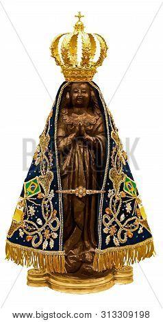Holy Lady Saint Aparecida Catholic  Brazilian Sacred Belief Statue Illustration