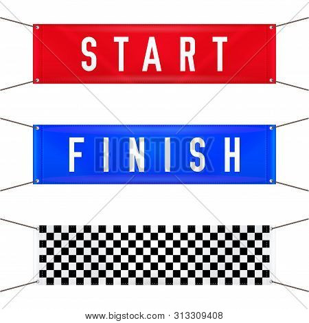 Start And Finish Hanging Banners. Vector Illustration. Red Start, Blue Finish And Checkered Textile