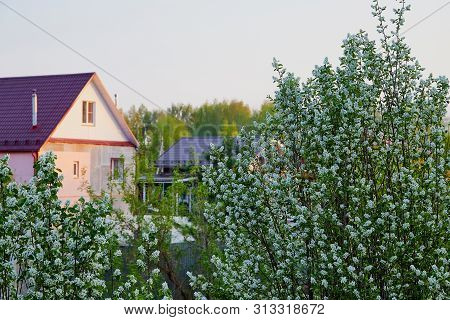Tipical Modern Russian Village With New House In A Summer Or Spring Day
