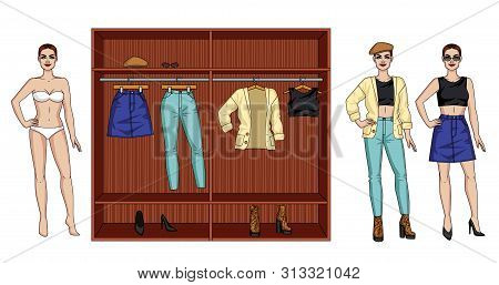 Color Vector Illustration Of A Female Modern Wardrobe For The Autumn. A Woman Standing Next To A Clo