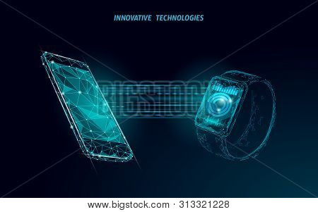Smart Watches Touch Screen Modern Technology Concept. Low Poly Polygonal Tracking App. Healthcare De