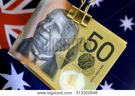 Australian Fifty Dollar Notes On The Australian Flag.