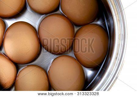 Hard Boiled Hen Eggs In A Saucepan,