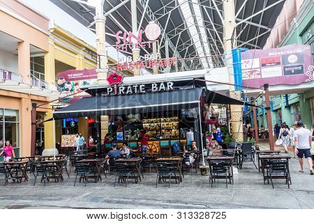 Phuket, Thailand - May 2nd 2018: Tourists In Cafe And Restaurants In Jung Ceylon, Patong. This Is Th