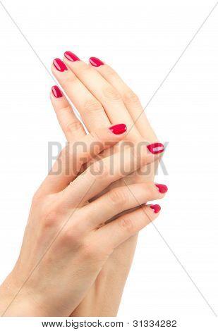 Frauenhänden rote Maniküre Schellack Konzept
