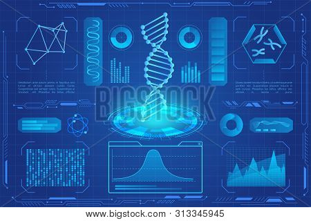 Dna Modern Neon Light Hologram Vector Illustration. Microbiology, Genetic Biotechnology, Gene Cell.