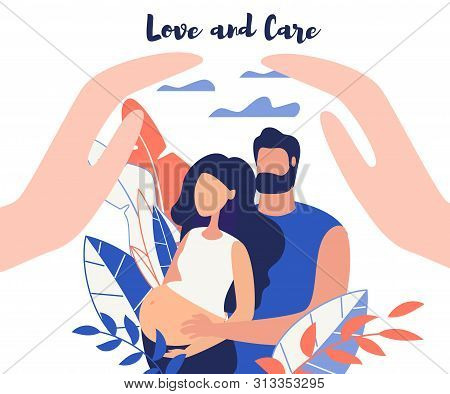 Advertising Banner Love And Car Lettering Flat. Poster Man Stand Behind Woman And Put Her Hands On H