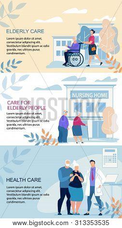 Informative Poster Inscription Elderly Care Flat. Banner Written Care For Elderly People, Health Car