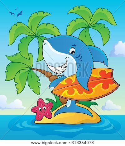 Surfer Shark Theme Image 3 - Eps10 Vector Picture Illustration.