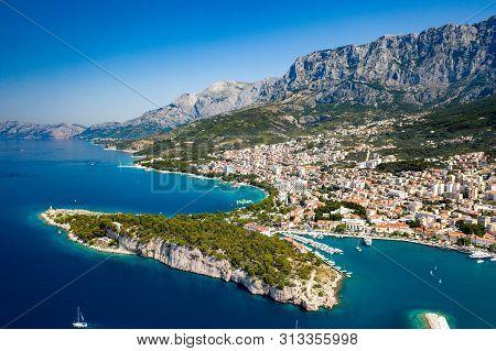 An Aerial View Of Makarska, A Beautiful City Located In Croatia