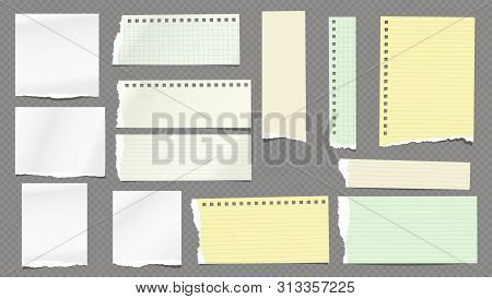 Torn White And Colorful Note, Notebook Lined And Blank Paper Pieces Stuck On Dark Squared Background