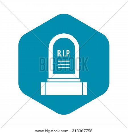 Headstone icon. Simple illustration of headstone vector icon for web poster