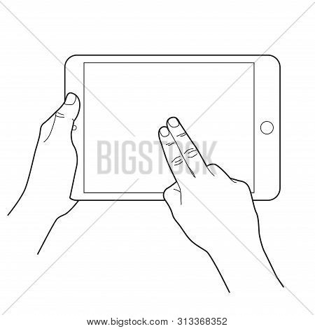 Gesture Icon For Tablet Touch Devices. Two Finger. Simple Outlined Vector Icon. White Background.