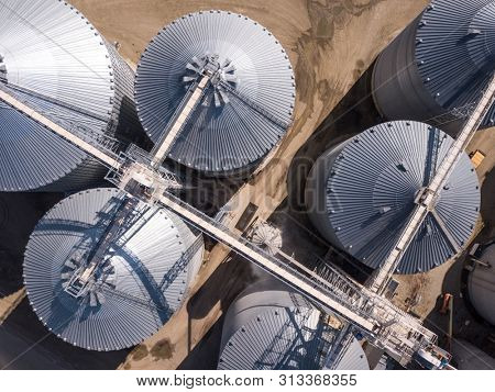 Aerial overhead view of grain storage elevators in South Dakota, USA.