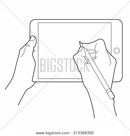 Hand Drawing With A Electronic Pencil  On A Tablet Touch Device. Gesture Icon For Tablets. Simple Ou