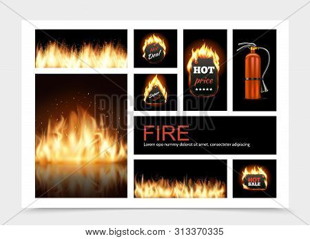 Realistic Fire Composition With Hot Fiery Sale Emblems Flame Blaze And Fire Extinguisher Vector Illu