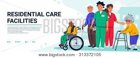 Residential Care Facilities Concept. Group Of Elderly People And Social Workers. Horizontal Banner O