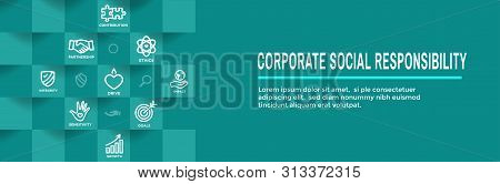 Csr-corporate Social Responsibility Outline Icon Set And Web Header Banner