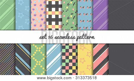 Set 16 Seamless Patterns With Decorative Elements Stars, Crown, Bow, Flowers, Lines, Squares, Glasse