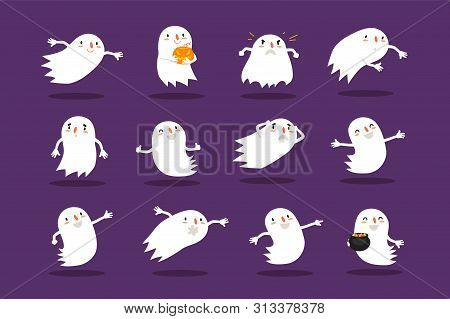 Halloween Ghost A Set Of Cute Hand-drawn Spooks Is Suitable For A Festive Design Or Avatar. Elements