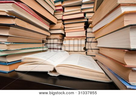 Stacks Of Books On Black Table