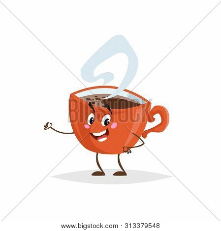 Cute Cartoon Coffee Red Cup Character. Humanized Mug With Hot Beverage. Morning Breakfast Mascot. St