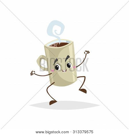 Cute Cartoon Coffee Beige Cup Character Jumping. Humanized Mug With Hot Beverage. Morning Breakfast