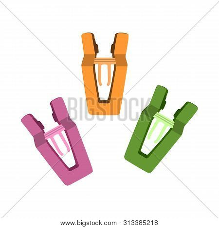 Isolated Object Of Peg And Clothespin Sign. Set Of Peg And Hanger Stock Symbol For Web.