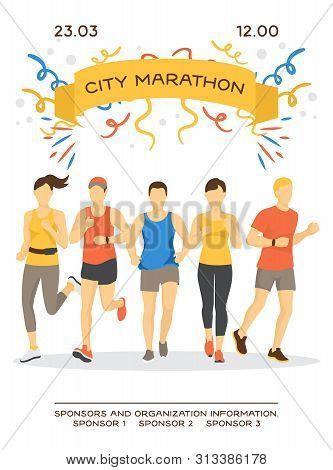 Maraphon Running People Vector Illustration. Sport Running Group Concept. People Athlete Maraphon Ru