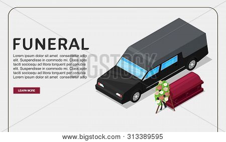 Funeral Service Isometric Vector Poster Or Web Template On Death Theme. Black Hearse Vehicle Near Co