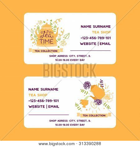 Herbal Tea Vector Business Card With Teapot Flowers And Herbs. Design For Herbal And Green Tea Colle
