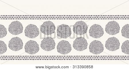 Modern Geometric Hand Drawn Seed Circle Border. Repeating Abstract Spotty Polka Dot Background. Orga