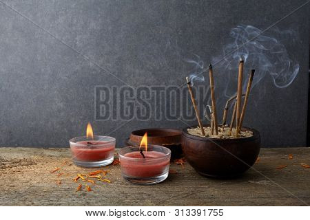 Burning Aromatic Incense Sticks. Incense For Praying Buddha Or Hindu Gods To Show Respect.