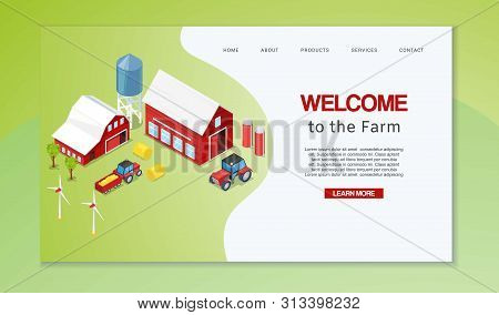Farm Isometric With Rural Buildings Agricultural Machinery, Wind Mills And Silos Vector Illustration