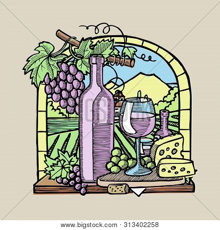 Bottle Of Wine, Two Glasses, Parmesan Cheese, Grapes And Leaves In Window Sketch Vector Illustration