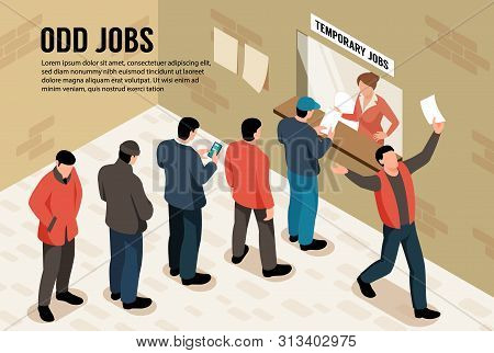 Odd Jobs Isometric Background With Group Of Male Characters Standing In Queue For Temporary Work Vec