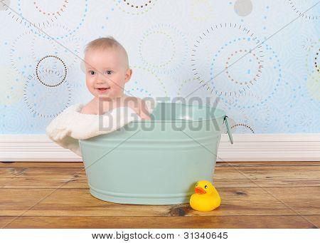 Handsome Baby Boy Sitting In Washtub