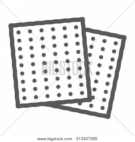 Matza Line Icon, Food And Israel, Jewish Bread Sign, Vector Graphics, A Linear Pattern On A White Ba