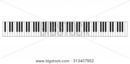 Grand Piano Keyboard Layout With 88 Keys. 52 White And 36 Black Keys, 7 Full Octaves. Set Of Levers