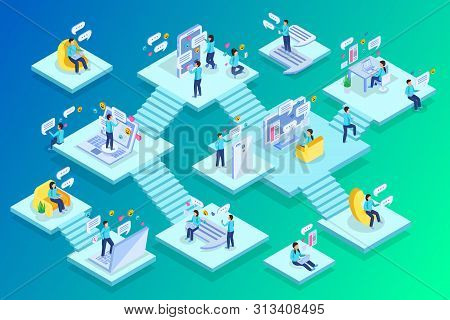 Chatting People Home Private Business Commerce Work Multi Level Isometric Compositions With Staircas