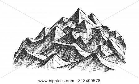Summit Of Mountain Landscape Ink Texture Vector. High Altitude Mountain Place Advertising Alpine Ski