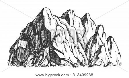 High Mountain Crag Landscape Hand Drawn Vector. Mountain Place For Advertising Extreme Ski Sport Res