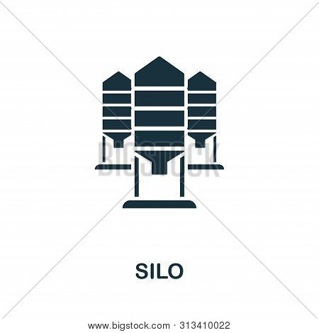 Silo Vector Icon Symbol. Creative Sign From Farm Icons Collection. Filled Flat Silo Icon For Compute
