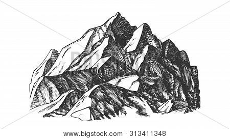 Peak Of Mountain Crag Landscape Hand Drawn . High Altitude Mountain Place For Extreme Sport Alpinism