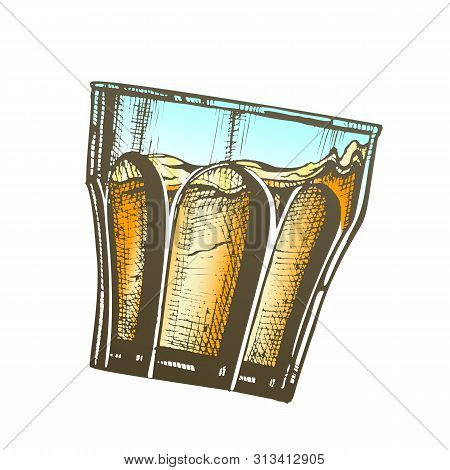 Color Design Glass With Bourbon And Ice Cubes Vector. Hand Drawn Slanted Glass With Frappe England B